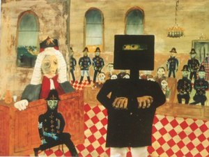 Sidney Nolan - The Trial (1947): enamel on composition board; 90.7 × 121.2cm, National Gallery of Australia