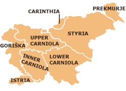 Carniola within modern Slovenia:Upper Carniola, Lower Carniola, and Inner Carniola.