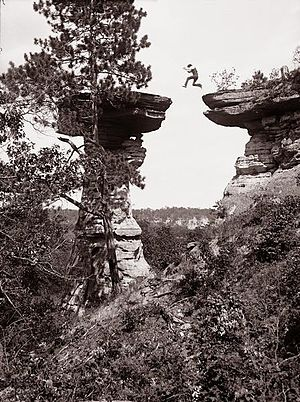 Dells of the Wisconsin River - H.H. Bennett's photo of Stand Rock