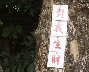 Superstitions of Malaysian Chinese - Picture of a 'Money generating tag' (Chinese: 对我生财) of local Malaysian Chinese. Money tags are popular among the Chinese community in Malaysia.