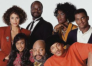 The Fresh Prince of Bel-Air - The characters of The Fresh Prince of Bel-Air. From top left: Hilary Banks, Geoffrey, Vivian Banks, Carlton Banks. From bottom left: Ashley Banks, Philip Banks, Will Smith.