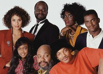 The Fresh Prince of Bel-Air - The cast of The Fresh Prince of Bel-Air, seasons 1–3. From top left: Karyn Parsons, Joseph Marcell, Janet Hubert-Whitten, Alfonso Ribeiro. From bottom left: Tatyana M. Ali, James Avery, Will Smith.