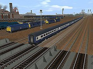 Trainz - Screenshot of TRS2004 or Trainz Railroad Simulator 2004 in driver mode, showing third-party British rolling stock in a rail yard scene.