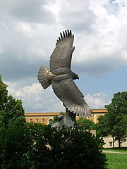 """In High Places"" is a prominent representation of the eagle on campus."