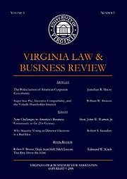 Virginia Law Business Review Cover
