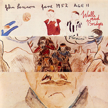 "3 drawings split vertically, with the text (going from L-R) ""John Lennon June 1952 Age 11 Walls and Bridges"" at the top"
