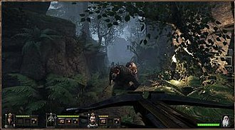 Warhammer: End Times – Vermintide - A gameplay screenshot of the game, showing the player character using a crossbow to kill the Skaven, a race of rodent-like monstrous creatures, outside the city of Ubersreik.