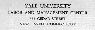 Yale Labor and Management Center - Letterhead