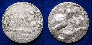 Milan International (1906) - Art Nouveau Silver Medallion by Giannino Castiglioni to the Milan International (1906). The South Portal of the Simplon Tunnel is on the obverse.