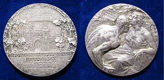 Giannino Castiglioni - Art Nouveau silver medallion for the Milan International Exhibition 1906; the obverse shows the Simplon Tunnel