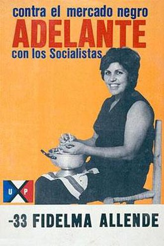 Socialist Party of Chile - 1973 election poster for PS candidate Fidelma Allende. Slogan reads 'Against the Black Market - Forward with the Socialists'.