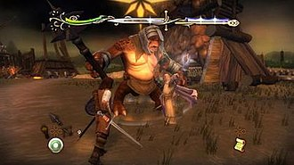 The Lord of the Rings: Aragorn's Quest - Two-player mode in the Wii version of the game. Aragorn and Gandalf fight a Troll. Aragorn's weapon selection is on the bottom left; Gandalf's on the bottom right.