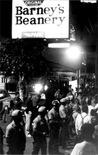 Barney's Beanery - Sheriff's deputies face off against demonstrators at the Barney's Beanery zap, February 7, 1970