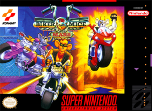 Biker Mice from Mars - Packaging for the Super NES video game.