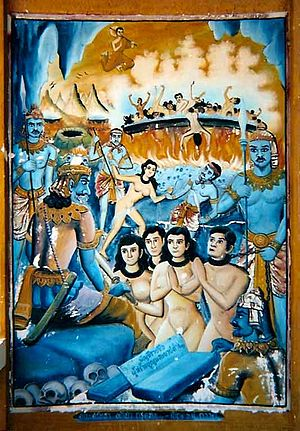 Naraka - A mural from a temple in northern Thailand. The unclothed spirits of the dead are brought before Yama for judgement. In the background, Mālaya (พระมาลัย) watches from above as sinners are fried in a large oil cauldron.
