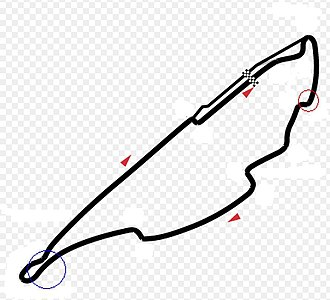 2007 Canadian Grand Prix - Circuit Gilles Villeneuve showing the location of Sutil's (red) and Kubica's (blue) crashes.