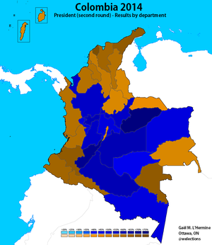Colombian presidential election, 2014 - Image: Colombia 2014 President R2