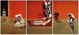 Triptychs by Francis Bacon - Crucifixion, 1965. Oil and acrylic on canvas. Bayerische Staatsgemäldesammlungen, Munich
