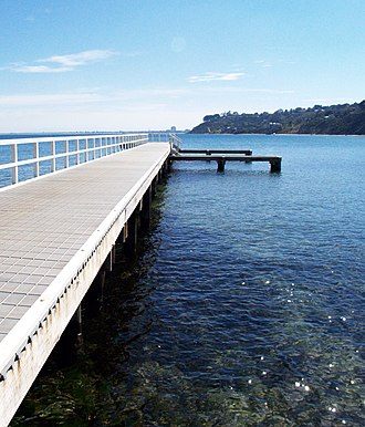 Daveys Bay - Daveys Bay jetty with Olivers Hill and Frankston in the background.