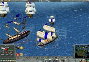 Empire Earth - After the Prehistoric Age, units such as naval units can be built. Shown here are; Galley (left middle), Frigate (lower middle), Battleship (top), and Cruiser (upper middle) which are the main ships until galleys are replaced by submarines in the Atomic age. Cruisers are available from the Imperial Age.