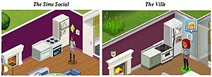 Video game clone - A comparison of in-game screenshots, published in EA's legal filings, of EA's The Sims Social (left) and Zynga's The Ville, demonstrating the similarities in the games' art assets.