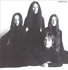 Fanny on the cover of their 1972 album Fanny Hill (clockwise from left: Jean Millington, June Millington, Alice de Buhr, Nickey Barclay)