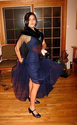 Flamenco shoe - Dancer wearing flamenco shoes with strap and heel