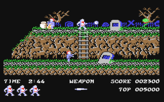 Ghosts 'n Goblins (video game) - Screenshot from the Commodore 64 version