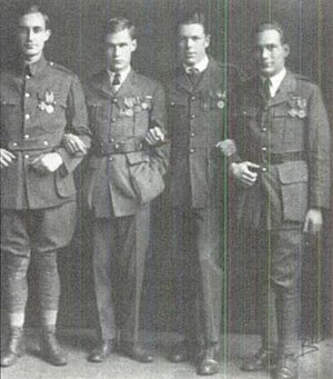 "Harry Crosby - (L-R) Philip ('the Vulture"") Shepley, Harry Crosby, George Richmond (""Tote"") Fearing, and Stuart Kaiser shortly after Armistice Day, 1919, displaying their decorations."