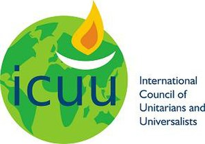 International Council of Unitarians and Universalists - The official logo of the ICUU, containing both an image of the Earth and a flaming chalice.