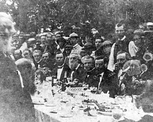 Swing Around the Circle - Photograph of President Andrew Johnson at a banquet in his honor during the Swing Around the Circle speaking tour. Johnson appears seated in the center, with Ulysses S. Grant to his left.