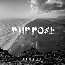 "Justin Bieber down below. Standing on a mountain and watching the sea with no shirt on. Top on the middle, there's  a title that says ""PURPOSE"". Down below, Justin Bieber's name is shown darkly."