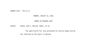 Miller v. Davis - Image: Kentucky marriage order 8 31 15