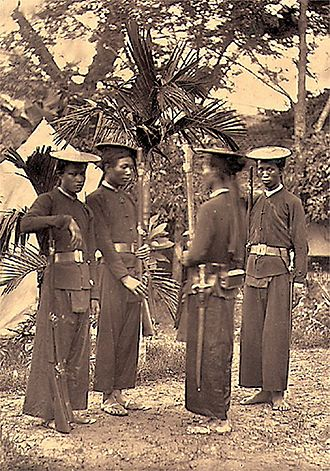 Colonial troops - Locally recruited riflemen of the French Colonial Army in Indochina, 1884