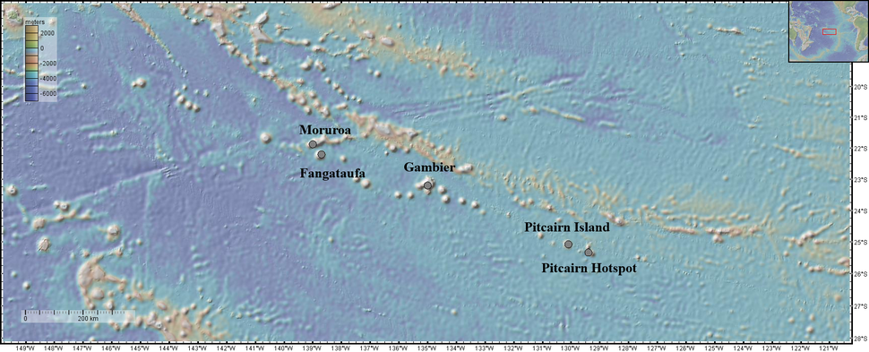 Location of the Pitcairn Hotspot Chain with Depth Map and Distance Scale