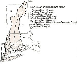 "Long Island Sound - The Watershed of Long Island Sound includes nearly all of Connecticut and western Massachusetts, large swathes of Vermont, New Hampshire and Rhode Island, along with relatively small areas of New York state. (The map is miscolored in two places: the area called ""5"" is part of the watershed, as is the area called ""9"" on Long Island; the line dividing Long Island is the southerly limit of the watershed, which includes only a small fraction of the island, along the northern coast)"