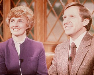 Bonnie L. Jensen - Bonnie with her husband on the set of Lutheran Vespers.