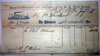 Natural Steps, Arkansas - Steamer Maumelle ticket (Jan 26, 1878) Natural Steps
