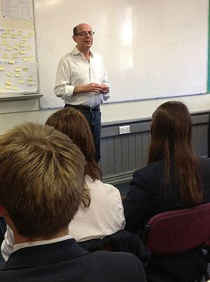 Cheadle Hulme School - Nick Robinson speaking to students at a Think Tank meeting