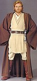 Promotional image of Obi-Wan from Attack of the Clones, wearing his Jedi robes