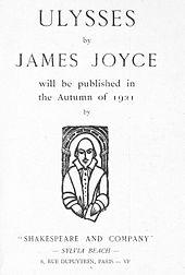 """Pagina met de tekst 'ULYSSES by JAMES JOYCE zal in de herfst van 1921 worden gepubliceerd door """"SHAKESPEARE AND COMPANY"""" - SYLVIA BEACH - 8, RUE DUPUYTREN, PARIJS - VIe'"""