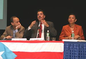 Political status of Puerto Rico - Stateside Puerto Rican members of the United States Congress: Luis Gutierrez (D-IL)(left), José Serrano (D-NY)(center), and Nydia Velázquez (D-NY)(right) speaking at the Encuentro Boricua Conference at Hostos Community College in New York City, 2004