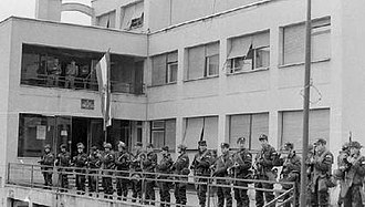Pakrac clash - Croatian special police at the Pakrac police station, 2 March 1991