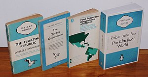 "Penguin Books - Four Pelican book covers, showing the gradual shift in the design. From left - 1937 (three bands), 1955 (grid), 1969 (illustrated), and 2007 (a ""Penguin Celebrations"" throwback edition)"