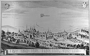Pforzheim - A view of Pforzheim in the early 17th century. It shows all significant landmarks including the city wall, the rivers Enz and Nagold, the three monastery churches and the Margrave's residence on Schlossberg hill.