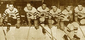 Pittsburgh Shamrocks - Members of the Pittsburgh Shamrocks (from left): Nick Wasnie, Bill Hudson, Scotty Martin, Conrad Bourcier, Henri Goulet and Jean Bourcier