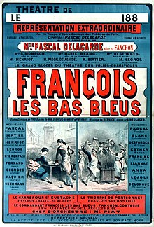 Theatre poster listing authors and cast of François les bas-bleus, 1883