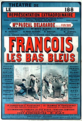 André Messager - Poster for François les bas-bleus, 1883. The names of both the composers are in small print just below the title.