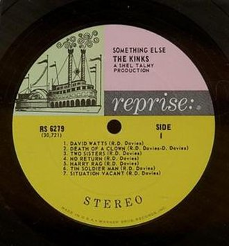 "Reprise Records - ""Tricolor"" label, used by Reprise until 1968. (Label to the Kinks' Something Else.)"