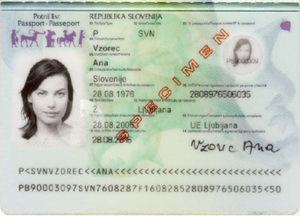 Slovenian passport - Identity page of the Slovenian passport